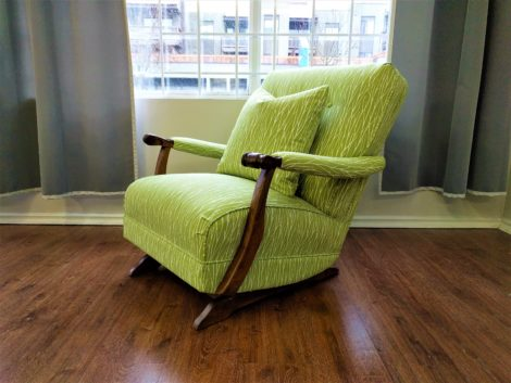 Rocking Chair with Matching Throw Pillow Upholstered, Reupholstered, and Recovered by United Upholstery