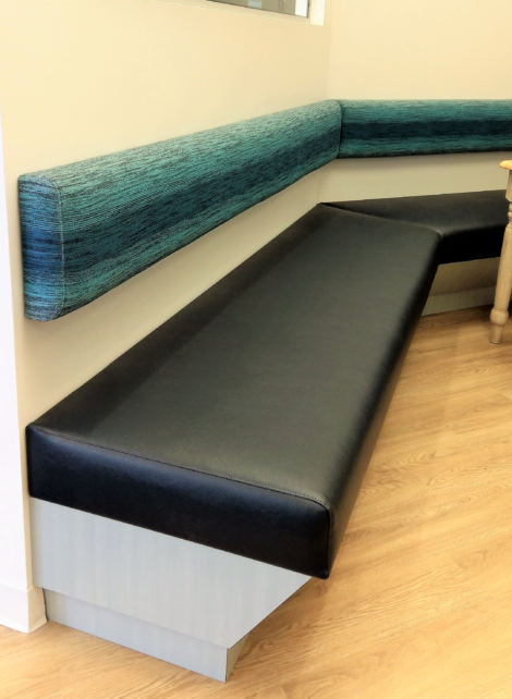 Cafeteria Banquette Custom Upholstered by United Upholstery