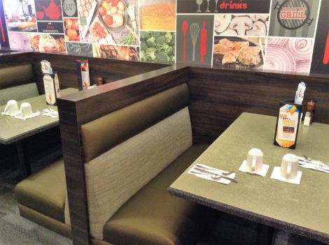 Restaurant and Diner Booths, Banquettes, and Bench reupholstered by United Upholstery