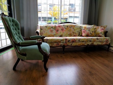 Antique Tufted Chair and Sofa Reupholstered by United Upholstery