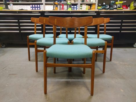 Danish Teak Mid-Century Dining Chairs Reupholstered by United Upholstery