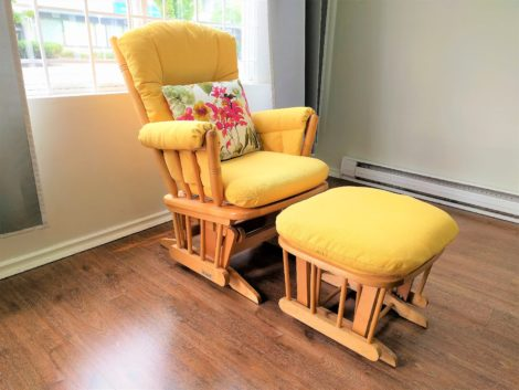 Glider Chair and Ottoman Reupholstered by United Upholstery
