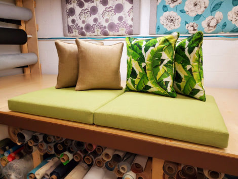 Outdoor furniture visions and pillows upholstered by United Upholstery.